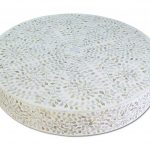 Mother of Pearl Inlay Floral Design Round Coffee Table in White Color With Brass Base