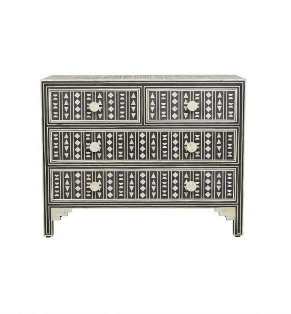 Bone Inlay Chest of four Drawers Black