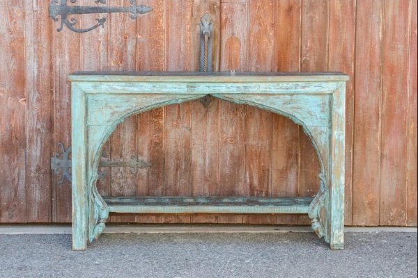 Moorish Arched Antique Blue Console Table