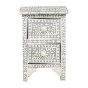 Bone Inlay Nightstand Gray Floral Design