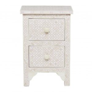 Bone Inlay Bedside Table Gray