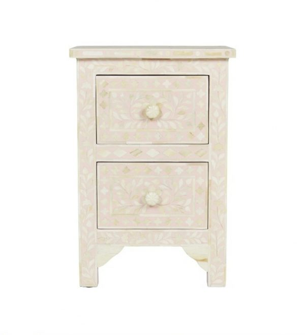 Bone Inlay Nightstand Table pink in Floral Design