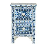 Bone inlay Bedside Table Blue