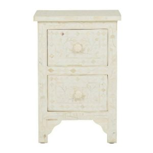 Bone Inlay Bedside Table White Floral