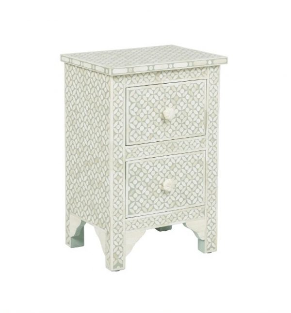 Bone Inlay Nightstand Gray