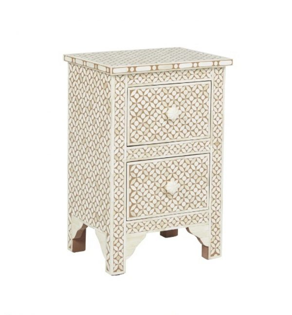 Bone Inlay Nightstand Table Two drawers