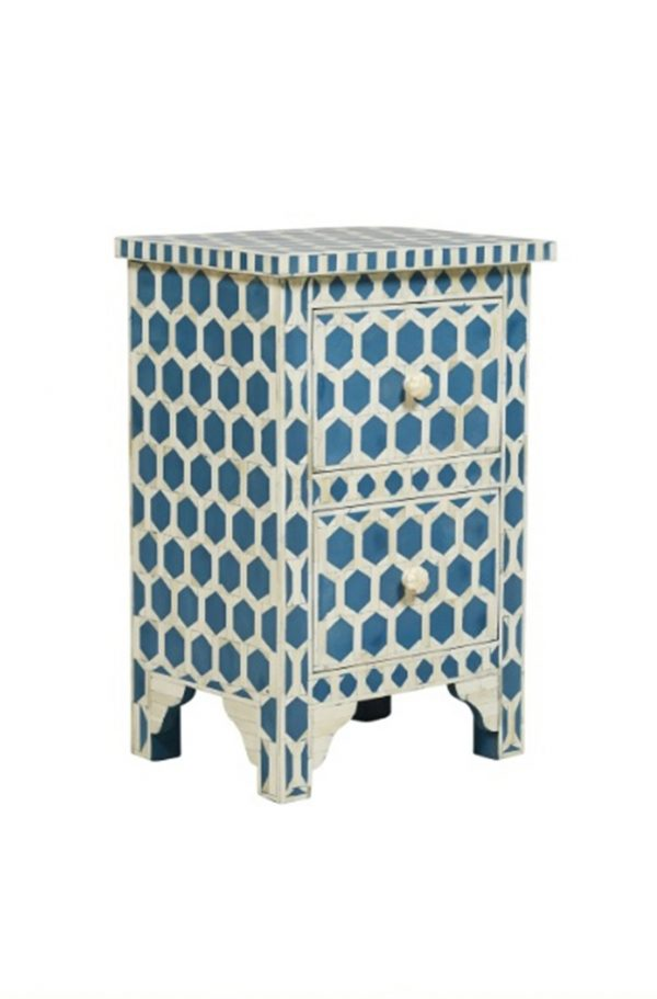 Bone inlay nightstand table