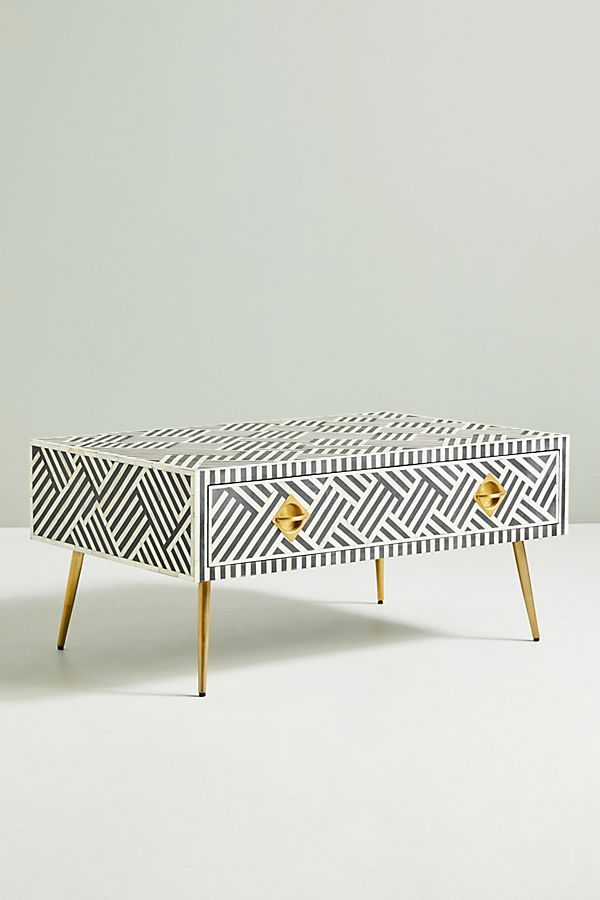 Bone Inlay optical design coffee table with drawers and solid brass legs