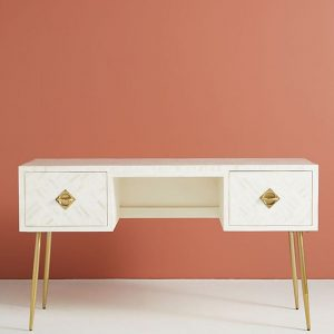 Bone Inlay Two Drawers Optical Inlay Desk in White
