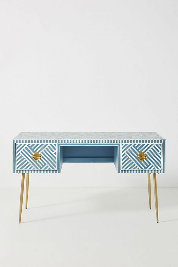 Bone Inlay Two Drawers Optical Inlay Desk in Sky Blue