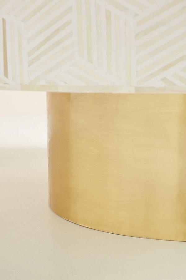 Bone Inlay tergua Coffee Table white with brass base