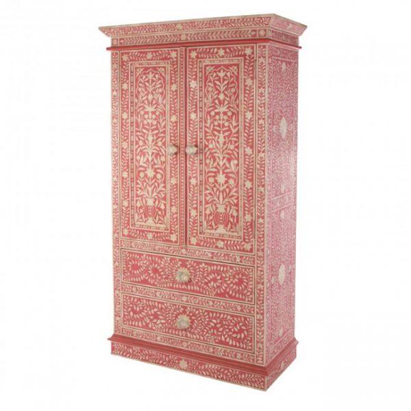Bone Inlay Floral Design Wardrobe in Dark Pink