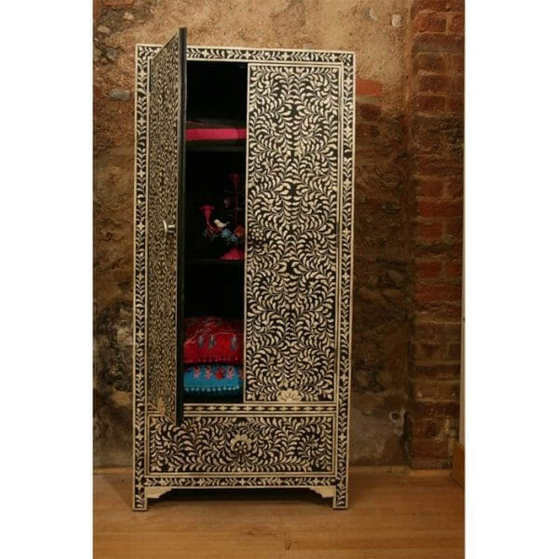 Bone Inlay Floral Design Almirah Cupboard In Black Color Lakecity Handicrafts