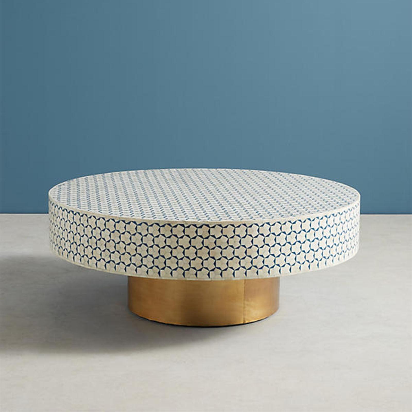 - Bone Inlay Small Targua Moroccan Coffee Table In Teal Green Color