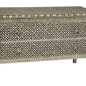 Bone Inlay Sideboard of Two drawers Black