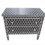 Bone Inlay Chest of Two drawers Honeycomb Design Black