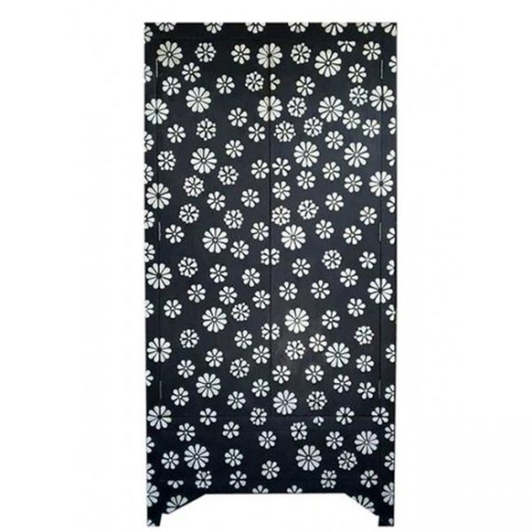 Bone Inlay Motif Flower Design Wardrobe in Black