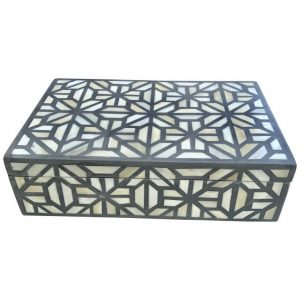 Bone inlay decorative box in blue color