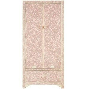 Bone Inlay Floral Design Wardrobe in Light Pink Color