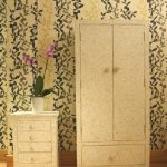 Bone Inlay Floral Design Wardrobe in White Color