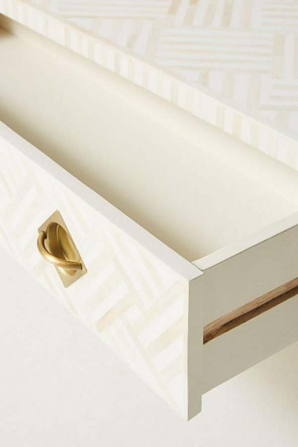 Bone Inlay optical design coffee table with drawers and solid brass legs , knobs