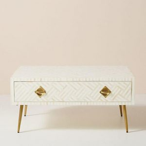 Bone Inlay optical design coffee table with drawers