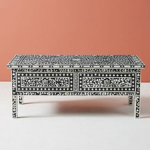 Bone Inlay Coffee table Floral design Black Color