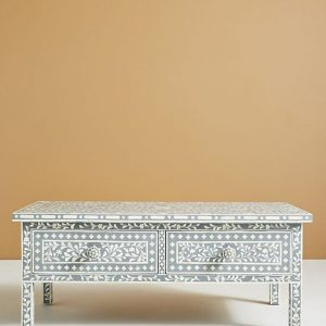 Bone Inlay Coffee table Floral design Gray Color