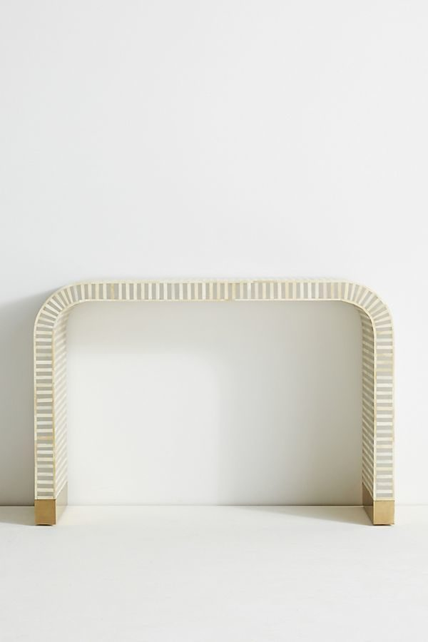 Bone Inlay Waterfall Console Table Gray with Brass Legs
