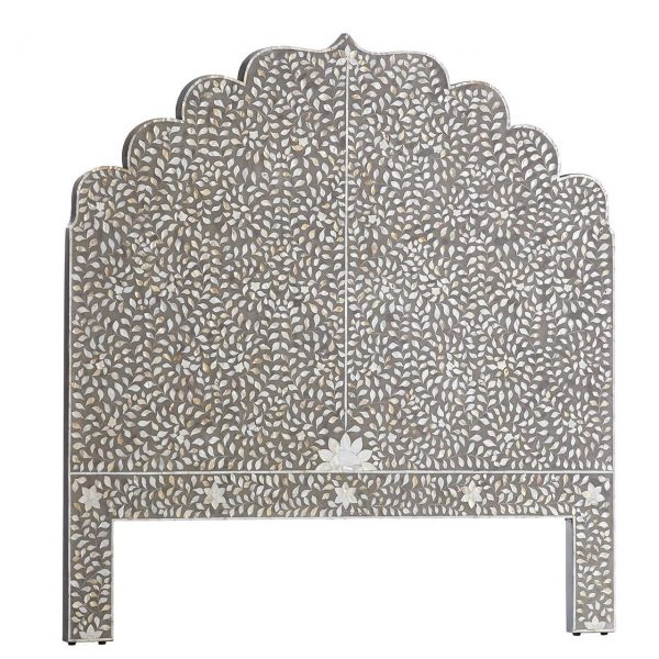 Mother of Pearl Inlay Floral Design Headboard