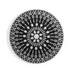 Mother of Pearl Motif Design Round Coffee Table in Black Color