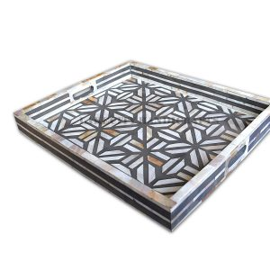 mother of pearl inlay tray in gray color