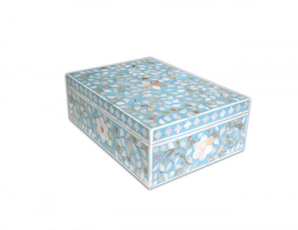 mother of pearl inlay floral design box in turquoise color