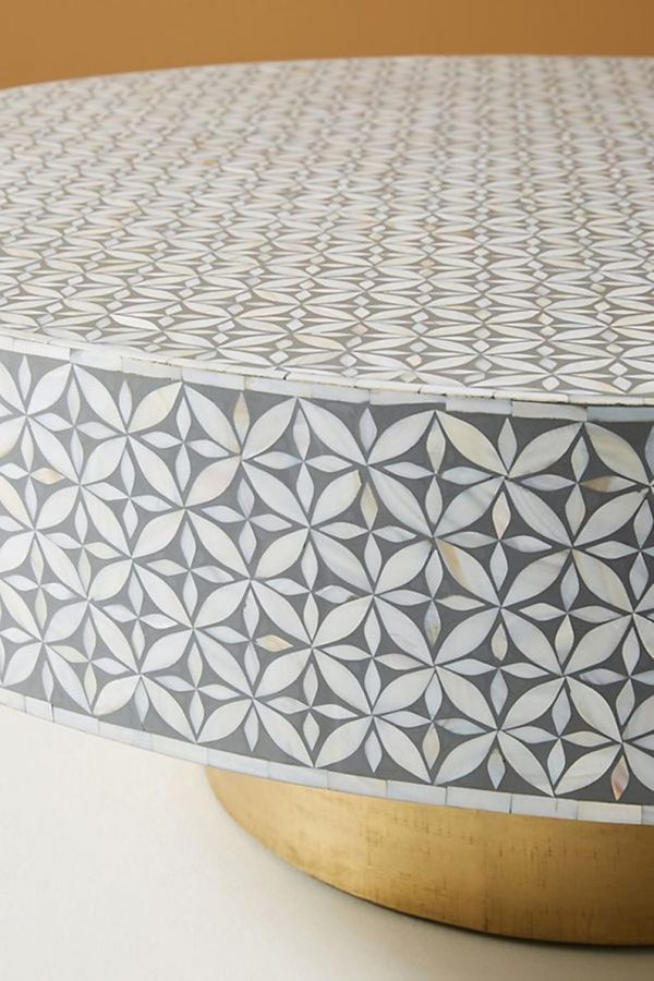 Mother of Pearl and bone Inlay Star Design Round Coffee Table in Grey Color with brass base