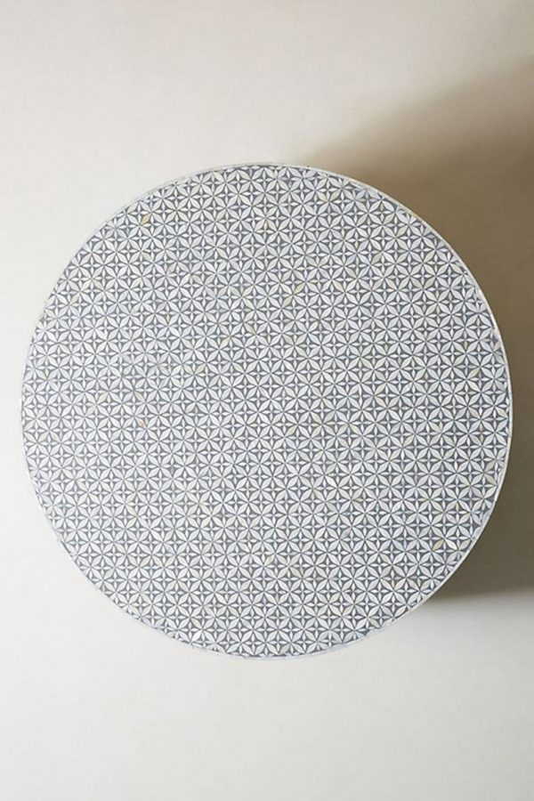 Mother of Pearl Inlay Star Design Round Coffee Table in Grey Color with brass base