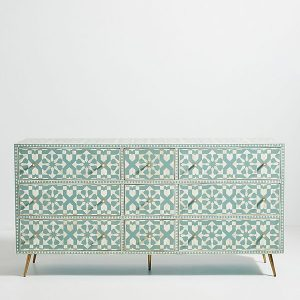 Moroccan Bone Inlay Chest Of Nine Drawer Dresser Salte Blue