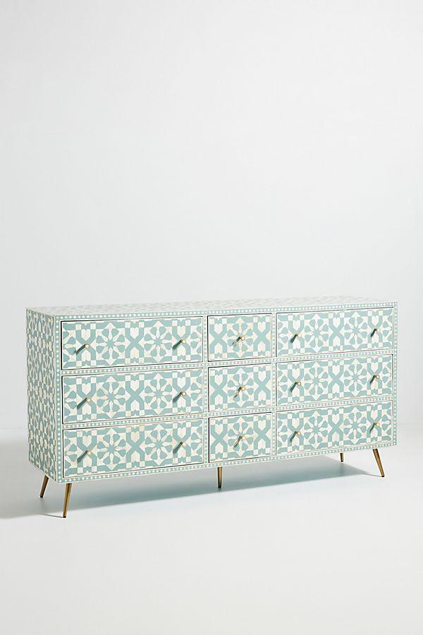 Moroccan Bone Inlay Chest Of Nine Drawer Dresser Salte Blue