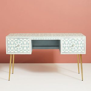 Moroccan Bone Inlay Desk Of Two Drawer Dresser in Salte Blue