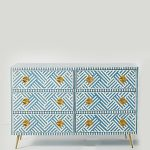 Bone Inlay Sky Blue Dresser Table