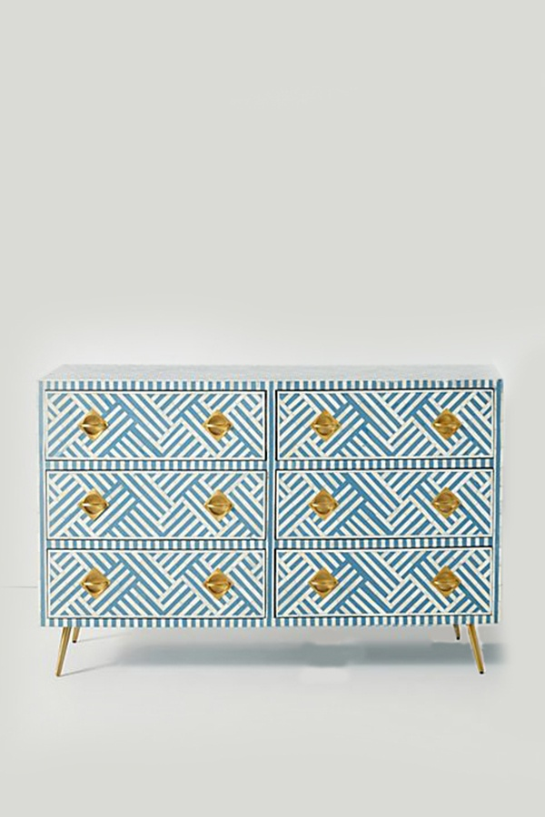 Bone Inlay Sky Blue Dresser Table