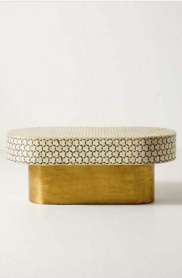 Bone Inlay Oval Shape Targua Design Center Table Grey