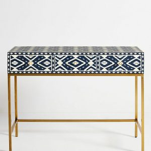 Bone Inlay Ikat Design 3 Drawers Vanity Indigo Blue