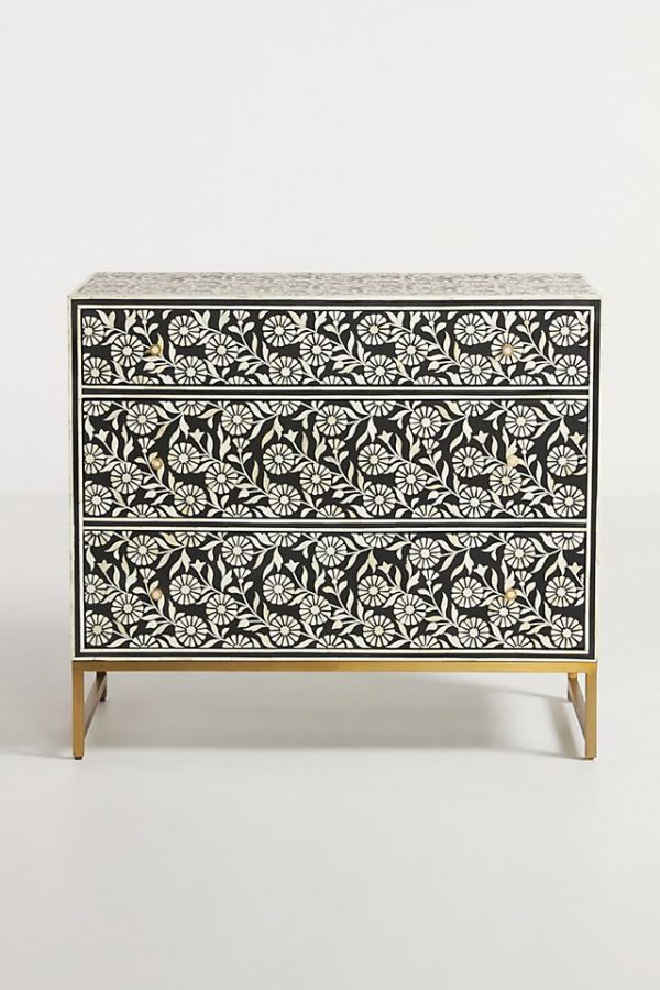 Bone Inlay Sun Flower 3 Drawers Dresser Black