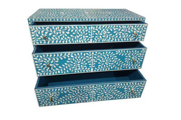 Bone Inlay Scroll vine 3 Drawers Storage Unit