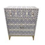 Bone Inlay Ikat Design Entryway Cabinet Grey
