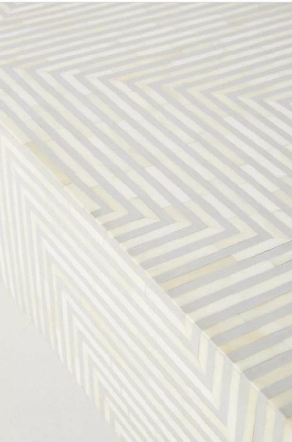 Bone Inlay Stripe Design Center Table Grey